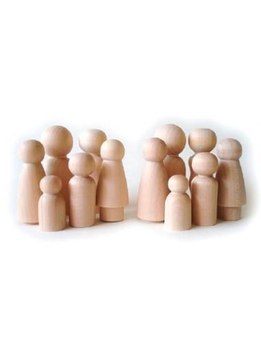 set van 10 houten popjes